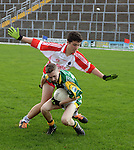 XXJOB 18-11-2015:  Sean og O'Morain, Pobalscoil Scoil Chorca Dhuibhne tackles  Dylan Murphy from St. Brendan's College, Killarney at the Munster u-15 footbal final in Killarney on wednesday.<br /> Picture by Don MacMonagle