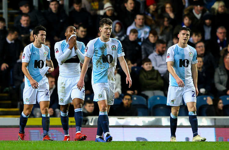Blackburn Rovers' players react to going 2-0 down<br /> <br /> Photographer Alex Dodd/CameraSport<br /> <br /> Emirates FA Cup Third Round Replay - Blackburn Rovers v Newcastle United - Tuesday 15th January 2019 - Ewood Park - Blackburn<br />  <br /> World Copyright © 2019 CameraSport. All rights reserved. 43 Linden Ave. Countesthorpe. Leicester. England. LE8 5PG - Tel: +44 (0) 116 277 4147 - admin@camerasport.com - www.camerasport.com