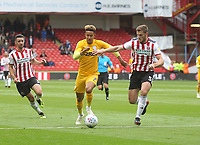 Preston North End's Callum Robinson battles with  Sheffield United's Jack O'Connell<br /> <br /> Photographer Mick Walker/CameraSport<br /> <br /> The EFL Sky Bet Championship - Sheffield United v Preston North End - Saturday 22 September 2018 - Bramall Lane - Sheffield<br /> <br /> World Copyright © 2018 CameraSport. All rights reserved. 43 Linden Ave. Countesthorpe. Leicester. England. LE8 5PG - Tel: +44 (0) 116 277 4147 - admin@camerasport.com - www.camerasport.com