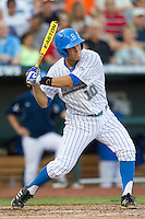 UCLA shortstop Pat Valaika (10) swings the bat during Game 12 of the 2013 Men's College World Series against the North Carolina Tar Heels on June 21, 2013 at TD Ameritrade Park in Omaha, Nebraska. The Bruins defeated the Tar Heels 4-1, to reach the CWS Final and eliminate North Carolina from the tournament. (Andrew Woolley/Four Seam Images)