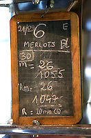 Chalk board on a fermentation vat, Merlots. Chateau Lapeyronie, Cotes de Castillon, Bordeaux, France