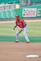 Jorge Mateo (14) of the Nashville Sounds during the game against the Salt Lake Bees at Smith's Ballpark on July 27, 2018 in Salt Lake City, Utah. The Bees defeated the Sounds 8-6. (Stephen Smith/Four Seam Images)