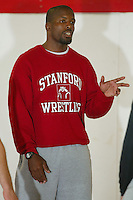 26 September 2005: Head coach Kerry McCoy at picture day for wrestling in the wrestling room in Stanford, CA.