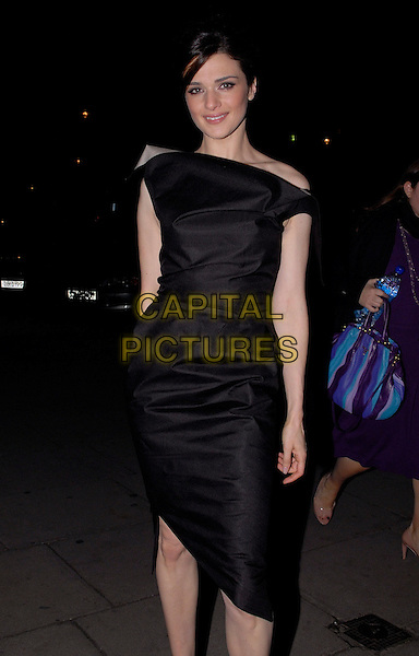 """RACHEL WEISZ.At a screening of """"The Brothers Bloom"""" during the London Film Festival, Odeon West End, London, England, October 27th 2008..half length black dress off the shoulder 3/4  .CAP/IA.©Ian Allis/Capital Pictures"""