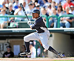 8 March 2011: New York Yankees' outfielder Curtis Granderson in action during a Spring Training game against the Atlanta Braves at Champion Park in Orlando, Florida. The Yankees edged out the Braves 5-4 in Grapefruit League action. Mandatory Credit: Ed Wolfstein Photo