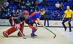 ROTTERDAM  - NK Zaalhockey . finale heren: SCHC-Amsterdam (2-2, SCHC wint shoot-outs) . Max Sweering (SCHC) met keeper Philip van Leeuwen (Adam)  tijdens de shoot-outs.COPYRIGHT KOEN SUYK