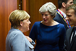 Brussels, Belgium -- October 19, 2017 -- European Council, EU-summit, meeting of Heads of State / Government; here, Angela MERKEL (le), Federal Chancellor of Germany, with Theresa MAY (ce), Prime Minister of the United Kingdom, and Emmanuel MACRON (ri), President of France -- Photo: © HorstWagner.eu