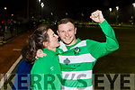 Killarney Celtic goal hero  Stephen Hayes celebrates with his girlfriend Jamesboro in the FAI cup quarter final in Celtic Park on Saturday night