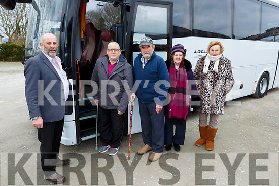 Danny Healy Rae with four passengers for the bus to Belfast for cateract operations leaving O'Callaghan coachs on Saturday morning l-r: Patrick Walsh Tralee, Mike Moran Tralee, Mary Anne Flynn Ballyheigue, and Sheila Murphy Castleisland