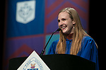 Elsa Rose Guenther, student speaker, addresses fellow classmates Saturday, June 10, 2017, during the DePaul University School of Music and The Theatre School commencement ceremony at the Rosemont Theatre in Rosemont, IL. (DePaul University/Jeff Carrion)