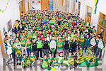 Students of The Green CBS who wore green on Monday and joing the Students were Kerry Minor Football players Michael Reidy,Eoghan O'Brien and Jack Morgan all students of the  Green and Marc O'Se (teacher at the Green)