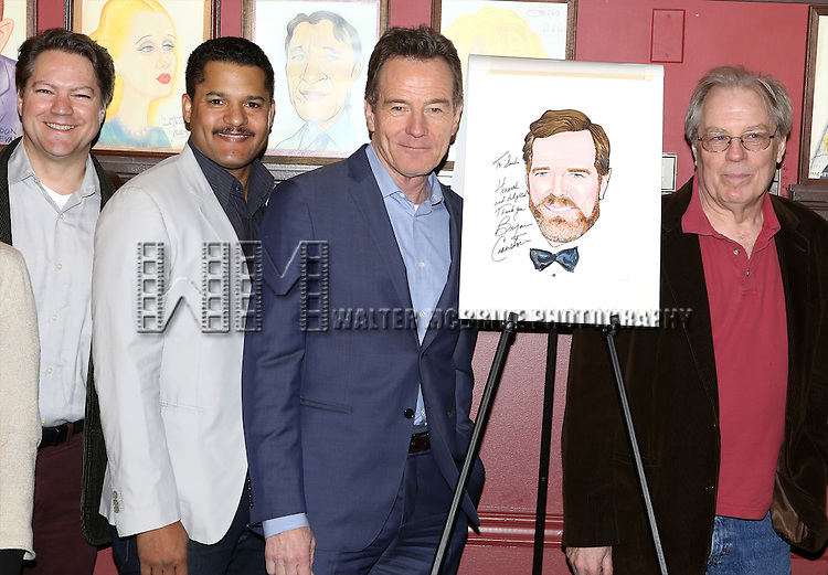 Robert Petkoff, Brandon J. Dirden, Bryan Cranston and Michael McKean attend the Sardi's Caricature Unveiling for Bryan Cranston on May 29, 2014 in New York City