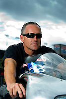 Oct. 31, 2008; Las Vegas, NV, USA: NHRA pro stock motorcycle rider Craig Treble during qualifying for the Las Vegas Nationals at The Strip in Las Vegas. Mandatory Credit: Mark J. Rebilas-