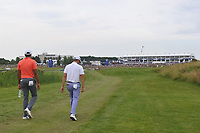 Julian Suri (USA) and Justin Thomas (USA) walk up the 18th during Round 4 of the HNA Open De France at Le Golf National in Saint-Quentin-En-Yvelines, Paris, France on Sunday 1st July 2018.<br /> Picture:  Thos Caffrey | Golffile