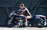 Nov. 9, 2012; Pomona, CA, USA: NHRA pro stock motorcycle rider Andrew Hines during qualifying for the Auto Club Finals at at Auto Club Raceway at Pomona. Mandatory Credit: Mark J. Rebilas-