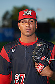 Batavia Muckdogs relief pitcher Victor Delgado (27) poses for a photo before a game against the Staten Island Yankees on August 26, 2016 at Dwyer Stadium in Batavia, New York.  Staten Island defeated Batavia 6-2. (Mike Janes/Four Seam Images)