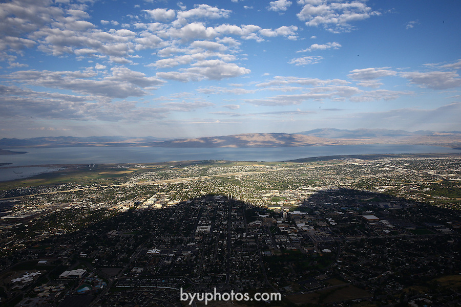 1309-22 1227<br /> <br /> 1309-22 BYU Campus Aerials<br /> <br /> Brigham Young University Campus, Provo, <br /> <br /> East Campus in shadow, Sunrise, East looking West<br /> <br /> September 6, 2013<br /> <br /> Photo by Jaren Wilkey/BYU<br /> <br /> &copy; BYU PHOTO 2013<br /> All Rights Reserved<br /> photo@byu.edu  (801)422-7322