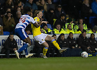 Reading's Tyler Blackett (left) battles with Leeds United's Luke Ayling (right) <br /> <br /> Photographer David Horton/CameraSport<br /> <br /> The EFL Sky Bet Championship - Reading v Leeds United - Tuesday 12th March 2019 - Madejski Stadium - Reading<br /> <br /> World Copyright &copy; 2019 CameraSport. All rights reserved. 43 Linden Ave. Countesthorpe. Leicester. England. LE8 5PG - Tel: +44 (0) 116 277 4147 - admin@camerasport.com - www.camerasport.com