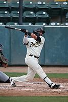 Tim Susnara (6) of the Visalia Rawhide bats against the Modesto Nuts at Recreation Ballpark on June 10, 2019 in Visalia, California. (Larry Goren/Four Seam Images)