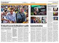 Helsingin Sanomat (leading Finnish daily) on municipal elections in Budapest, Hungary. October 2019<br /> Photos: Martin Fejer