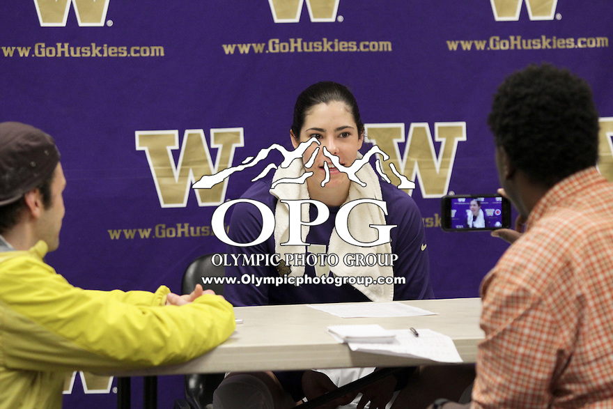 SEATTLE, WA - DECEMBER 18: Washington's #10 Kelsey Plum answer's questions after the game against Savannah State.  Washington won 87-36 over Savannah State at Alaska Airlines Arena in Seattle, WA.
