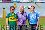 Referee is Philip McDonald pictured with Kerry Captain, Aoife Behan and Dublin Captain, Emer Keenan in the Camogie All Ireland Semi Finals at The Gaelic Grounds Limerick on Saturday.