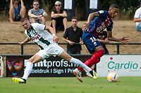 HAREN - Voetbal, FC Groningen - SM Caen, voorbereiding seizoen 2018-2019, 04-08-2018, FC Groningen speler Django Warmerdam in duel met Frederic Guilbert
