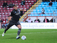 Lincoln City's Matt Rhead scores his penalty in the penalty shoot out<br /> <br /> Photographer Andrew Vaughan/CameraSport<br /> <br /> The EFL Checkatrade Trophy Northern Group H - Scunthorpe United v Lincoln City - Tuesday 9th October 2018 - Glanford Park - Scunthorpe<br />  <br /> World Copyright &copy; 2018 CameraSport. All rights reserved. 43 Linden Ave. Countesthorpe. Leicester. England. LE8 5PG - Tel: +44 (0) 116 277 4147 - admin@camerasport.com - www.camerasport.com