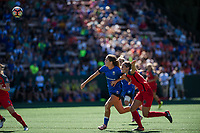 Seattle, WA - Saturday, August 26th, 2017: Katlyn Johnson and Katherine Reynolds  during a regular season National Women's Soccer League (NWSL) match between the Seattle Reign FC and the Portland Thorns FC at Memorial Stadium.