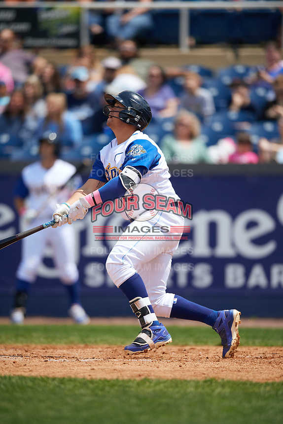 Wilmington Blue Rocks catcher Chase Vallot (13) at bat during the first game of a doubleheader against the Frederick Keys on May 14, 2017 at Daniel S. Frawley Stadium in Wilmington, Delaware.  Wilmington defeated Frederick 10-2.  (Mike Janes/Four Seam Images)