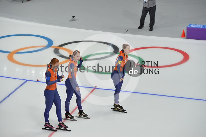 OLYMPIC GAMES: PYEONGCHANG: 19-02-2018, Gangneung Oval, Long Track, Team Pursuit Ladies, Team Netherlands, ©photo Martin de Jong