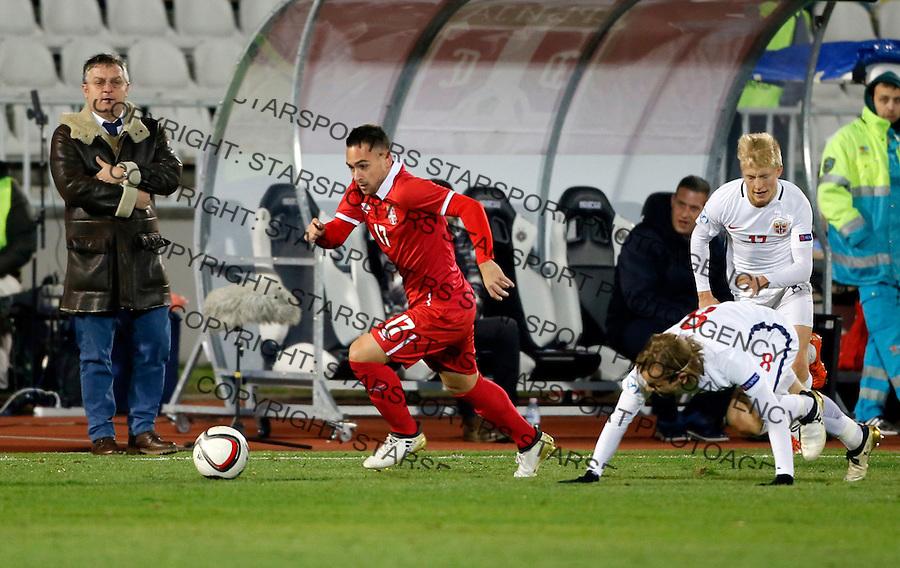 Dejan Meleg Reprezentacija, U21 Srbija - Norveska , baraz 11.11.2016. Beograd Srbija kvalifikacije  Serbia - Norway (credit image & photo: Pedja Milosavljevic / STARSPORT)