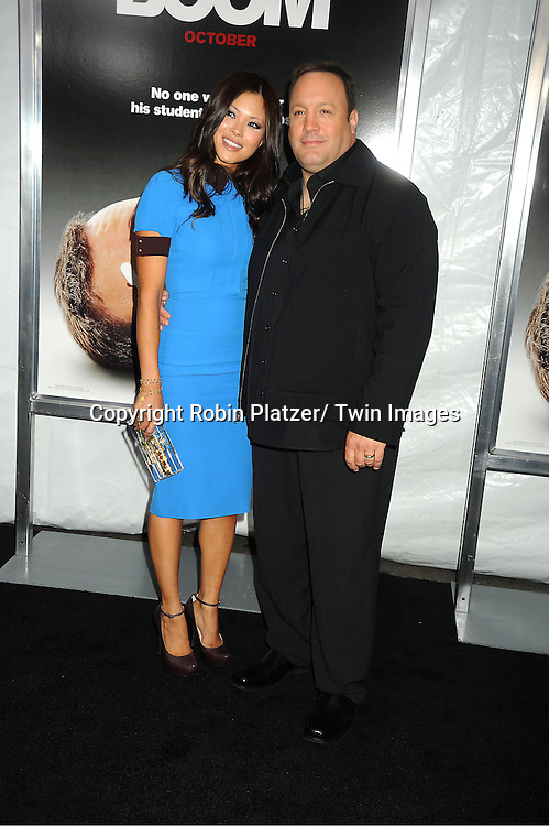 """Kevin James and wife Steffiana de la Cruz attend the World Premiere of """"Here Comes The Boom"""" on October 9, 2012 at AMC Lincoln Square in New York City. The movie stars Kevin James, Salma Hayek, Henry Winkler, Bas Rutten, Chaarice. Greg Germann, Bas Rutten, Frank Coraci  and Gary Valentine."""