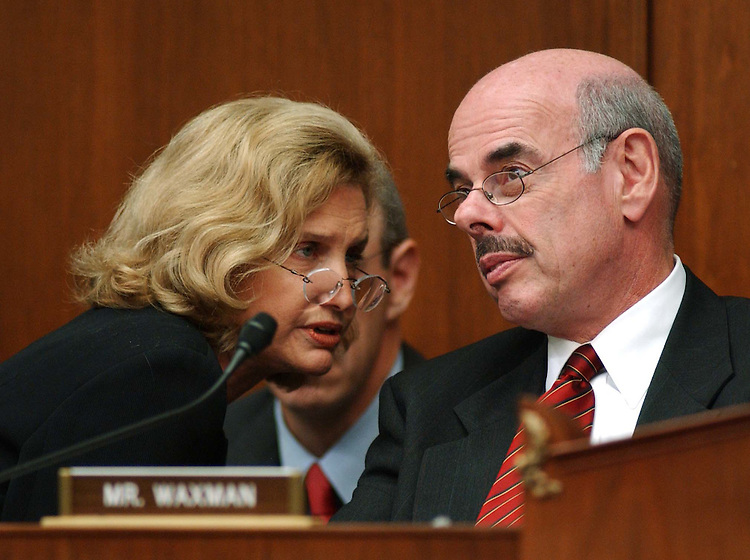 "9/29/04.INTELLIGENCE RESTRUCTURING--Carolyn Maloney, D-N.Y., and ranking Democrat Henry A. Waxman, D-Calif., during the House Government Reform markup of draft legislation, HR 10, the ""9/11 Recommendations Implementation Act,"" which would reorganize and restructure U.S. intelligence gathering and analysis operations..CONGRESSIONAL QUARTERLY PHOTO BY SCOTT J. FERRELL"