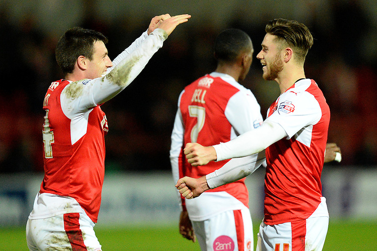 Fleetwood Town's Wes Burns celebrates scoring the first goal with team-mate Bobby Grant<br /> <br /> Photographer Richard Martin-Roberts/CameraSport<br /> <br /> Football - The Football League Sky Bet League One - Fleetwood Town v Peterborough United - Tuesday 5th April 2016 - Highbury Stadium - Fleetwood   <br /> <br /> &copy; CameraSport - 43 Linden Ave. Countesthorpe. Leicester. England. LE8 5PG - Tel: +44 (0) 116 277 4147 - admin@camerasport.com - www.camerasport.com