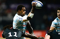 17th November 2019,  Paris La Défense Arena, Hauts-de-Seine, France; Champions Cup Rugby Union, Racing 92 versus Saracens;  Virimi Vakatawa (Racing ) one handed pass as he is tackled by Rotimi Segun of Sarries