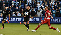 Kansas City, Kansas - Sunday, April 14, 2019: Sporting Kansas City and the New York Red Bulls played to a 2-2 tie in a Major League Soccer (MLS) game at Children's Mercy Park.