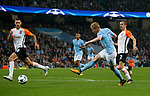 Kevin De Bruyne of Manchester City misses the goal with a shot during the Champions League Group F match at the Emirates Stadium, Manchester. Picture date: September 26th 2017. Picture credit should read: Andrew Yates/Sportimage