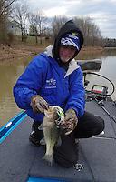 NWA Democrat-Gazette/FLIP PUTTHOFF <br /> Brashers used a spinner bait to catch this largemouth bass March 18, 2016 near the swim beach at Prairie Creek park.