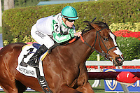 January 17, 2015:  Pink Poppy (FL) with jockey Julien Leparoux on board wins the Sunshine Millions Filly and Mare Turf  at  Gulfstream Park in Hallandale Beach, Florida. Liz Lamont/ESW/CSM