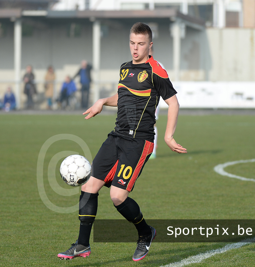 20140314 - HEIST , BELGIUM : Belgian Jorn Van Camp pictured during a friendly soccer match between the Under16 soccerteams of Belgium and Serbia , Friday 14 March 2014 in Heist . PHOTO DAVID CATRY