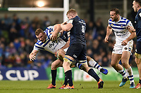 Sam Underhill of Bath Rugby is tackled. Heineken Champions Cup match, between Leinster Rugby and Bath Rugby on December 15, 2018 at the Aviva Stadium in Dublin, Republic of Ireland. Photo by: Patrick Khachfe / Onside Images