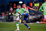 Filipe Luis of Atletico de Madrid fights for the ball with Gaston Pereiro of PSV Eindhoven during their 2016-17 UEFA Champions League match between Atletico de Madrid and PSV Eindhoven at the Vicente Calderón Stadium on 23 November 2016 in Madrid, Spain. Photo by Diego Gonzalez Souto / Power Sport Images