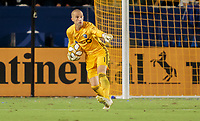 CARSON, CA - SEPTEMBER 21: Evan Bush #1 of Montreal Impact gives directions during a game between Montreal Impact and Los Angeles Galaxy at Dignity Health Sports Park on September 21, 2019 in Carson, California.