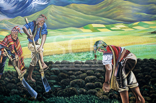 Cusco, Peru. Painting of men in traditional dress tilling and sowing the land.