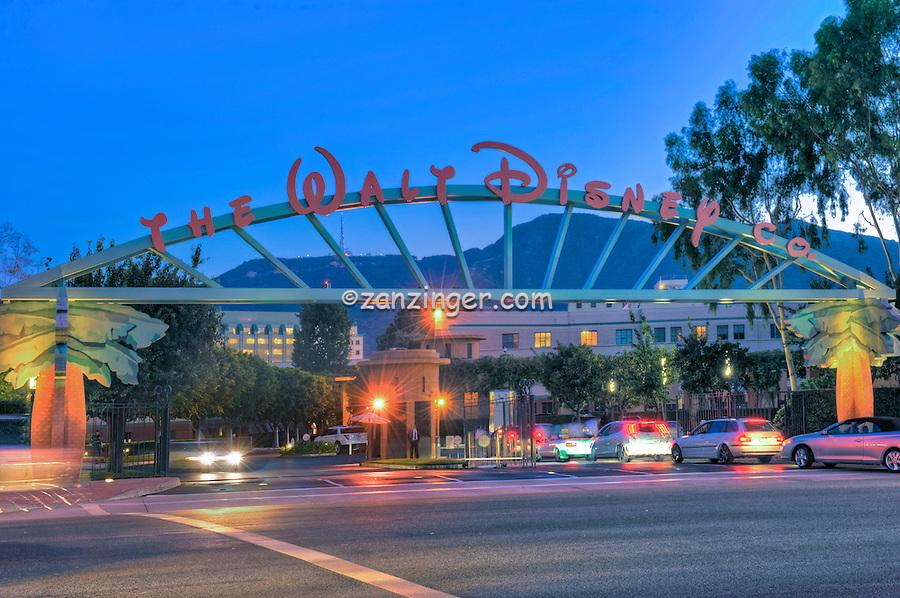 The Walt Disney Company in Burbank, CA., Sunset, Blue Sky, Magic Hour, Twilight, Car Lights Streaking, Beautiful