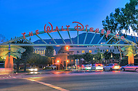 The Walt Disney Company in Burbank, CA., Sunset, Blue Sky, Magic Hour, Twilight, Car Lights Streaking, Beautiful