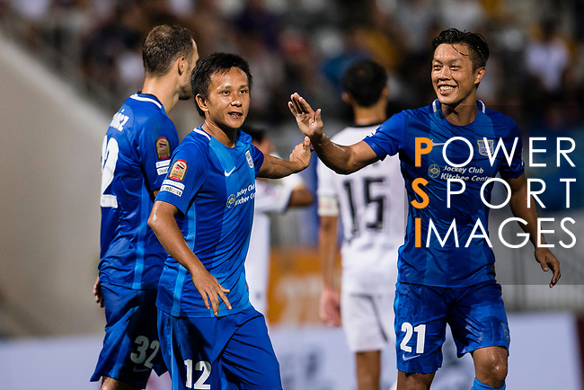 SC Kitchee Forward Kwan Yee Lo (L) and SC Kitchee Defender Kin Man Tong (R) celebrating a score during the week two Premier League match between Kitchee and Dreams FC at on September 10, 2017 in Hong Kong, China. Photo by Marcio Rodrigo Machado / Power Sport Images