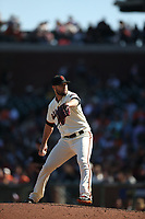 SAN FRANCISCO, CA - SEPTEMBER 17:  Hunter Strickland #60 of the San Francisco Giants pitches against the Arizona Diamondbacks during the game at AT&T Park on Sunday, September 17, 2017 in San Francisco, California. (Photo by Brad Mangin)