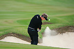 Luke Donald (ENG) chips out of a fairway bunker on the 3rd hole during Day 3 of the BMW PGA Championship Championship at, Wentworth Club, Surrey, England, 28th May 2011. (Photo Eoin Clarke/Golffile 2011)